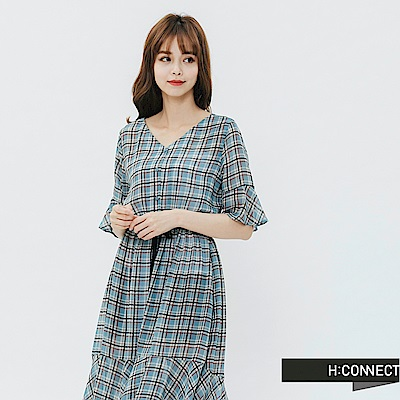 H:CONNECT 韓國品牌 女裝-飄逸綁結格紋洋裝-綠