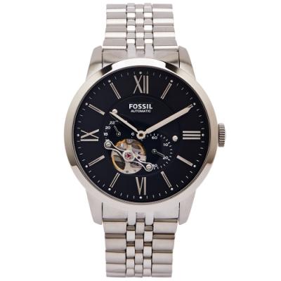 FOSSIL 霸氣款的簍空機械手錶(ME3107)-黑面X銀色/44mm