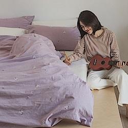 翔仔居家 新疆棉系列 雙人刺繡被套 - 淺蘭紫x小花