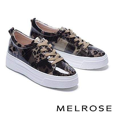 休閒鞋 MELROSE 個性潮感色塊拼接綁帶全真皮厚底休閒鞋-咖