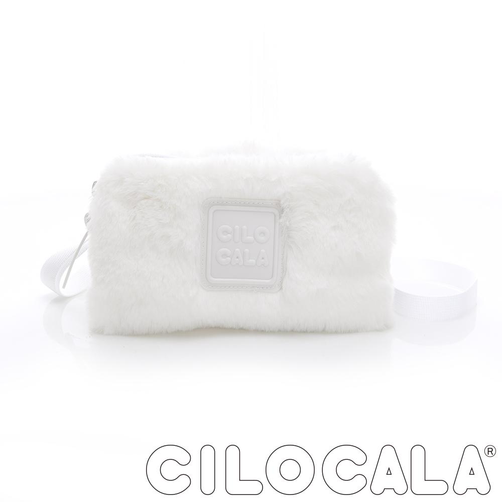 CILOCALA 限量版-亮彩尼龍毛毛防潑水方包 白