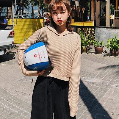 純色坑條針織連帽長袖上衣 (共四色)-Kugi Girl