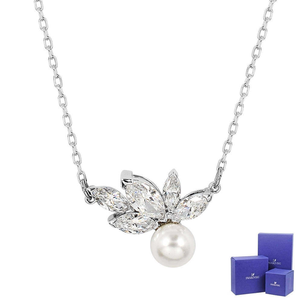 SWAROVSKI施華洛世奇 Louison Pearl璀璨水晶葉片珍珠造型銀色項鍊