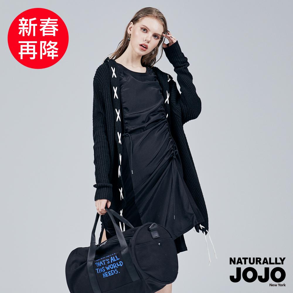 【NATURALLY JOJO】 交叉撞色粗針外罩(黑)