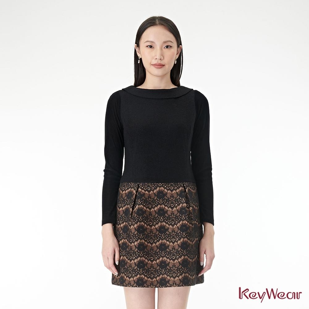 KeyWear奇威名品    印花拼接針織假兩件洋裝-黑色