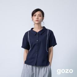 gozo 造型配色裝飾邊條短襯衫(二色)