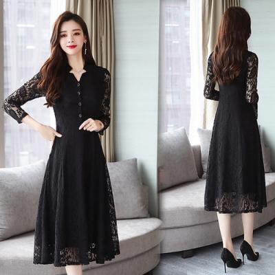 【韓國K.W.】時尚潮流蕾絲款修身洋裝-2色