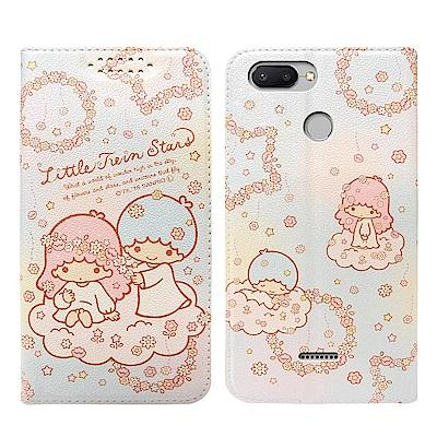 三麗鷗授權 雙子星 紅米6 粉嫩系列彩繪磁力皮套(花圈)
