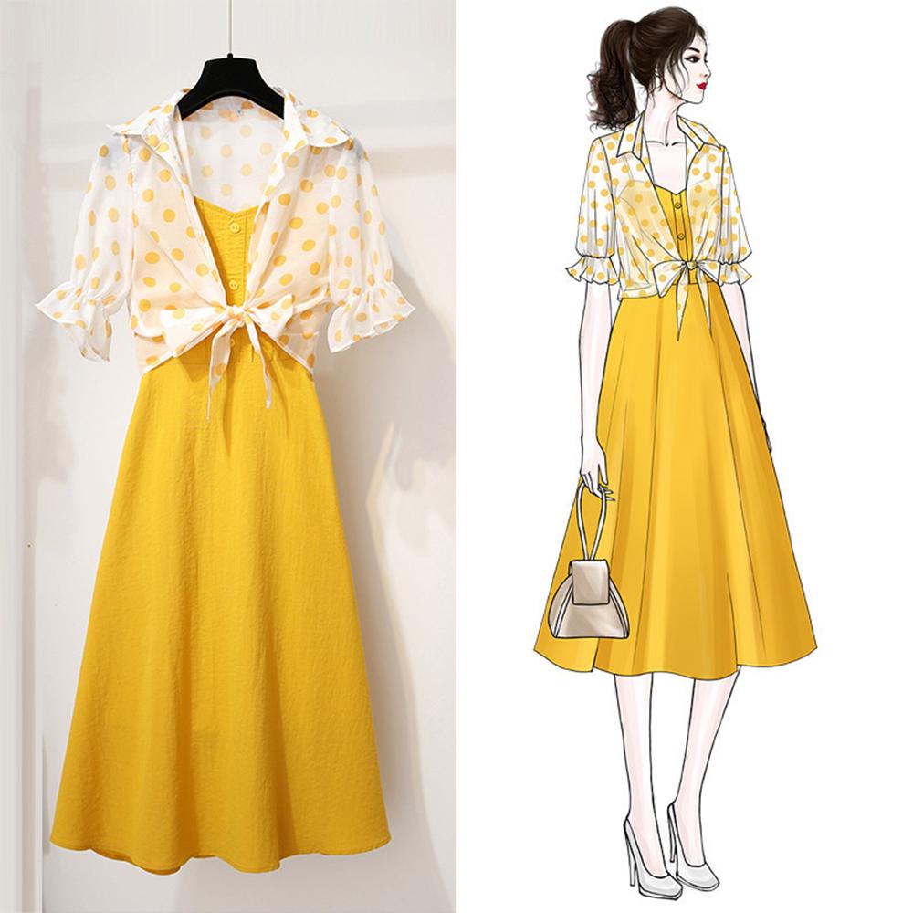 初色  兩件式簡約氣質細肩帶洋裝-黃色-(M-XL可選)