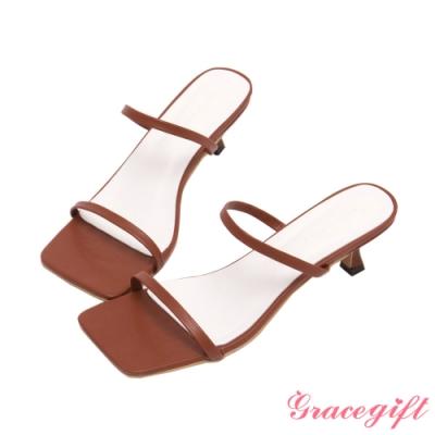 Grace gift-一字雙細帶中跟涼拖鞋 棕