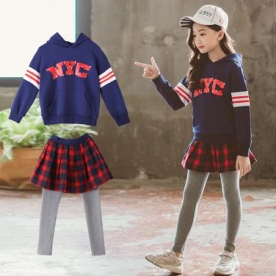 小衣衫童裝 中大童連帽長袖運動衣紅格子短裙長褲套裝1080924