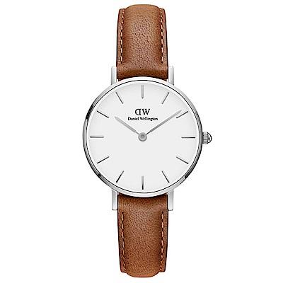 DW手錶 官方旗艦店 28mm銀框 Classic Petite 淺棕真皮皮革手錶