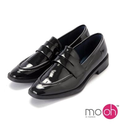mo.oh-方頭質感漆皮紳士鞋樂福鞋-黑色