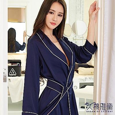 睡衣 性感英式絲滑浴袍睡衣。藍色 久慕雅黛