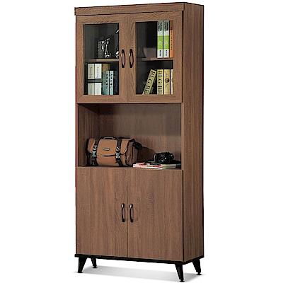 凱曼  提亞娜2.7尺淺胡桃四門開放書櫥/書櫃
