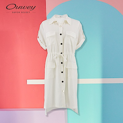 OUWEY歐薇 兩穿式長版襯衫洋裝(白)