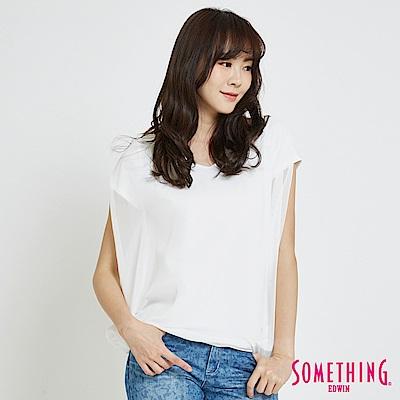 SOMETHING 假兩件異材質 造型T恤-女-白色