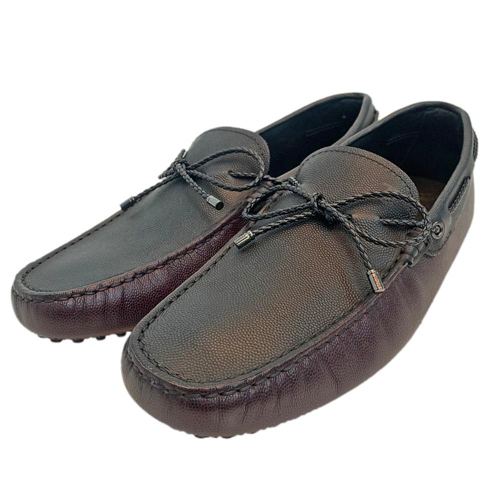 TOD'S 經典皮革撞色綁帶手工豆豆鞋(黑/紅咖)