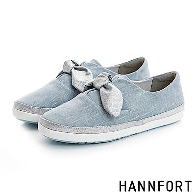 HANNFORT CALIFORNIA金沙扭結丹寧休閒鞋-女-淺水藍8H