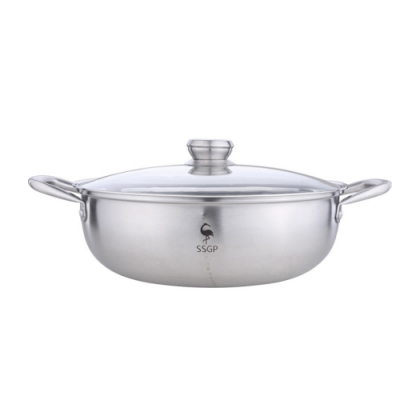 PUSH!廚房用品304不銹鋼火鍋鍋具鴛鴦火鍋帶蓋涮涮鍋加厚清湯鍋D206
