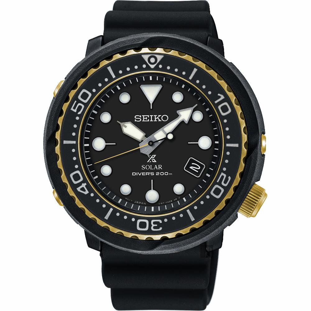 SEIKO精工 PROSPEX SCUBA 太陽能200米潛水錶-金圈x黑/46.7mm V157-0CX0X