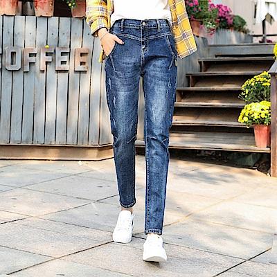 ALLK 鬆緊褲頭高腰牛仔褲 淺藍色(尺寸27-31腰)