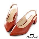 Mori girl簡約皮紋微尖頭鞋後空低跟鞋 紅