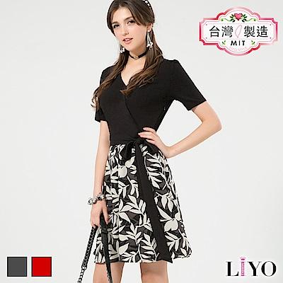 LIYO理優MIT假兩件式印花洋裝