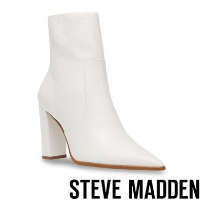 STEVE MADDEN-NEGOTIATE 尖頭高跟中筒靴-白色