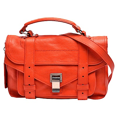 Proenza Schouler PS1 TINY LUX山羊皮手提/斜背包(小-橘紅)