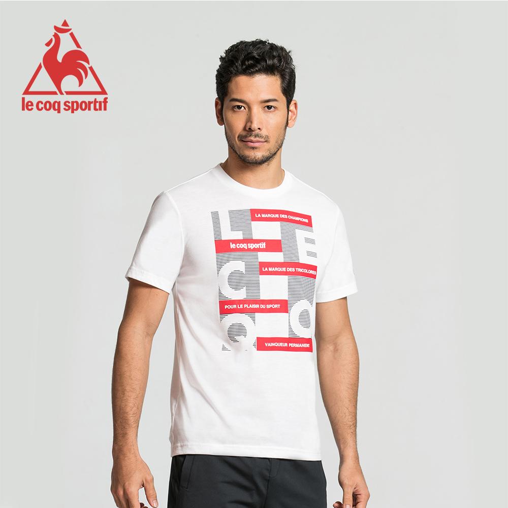 le coq sportif 法國公雞牌印花運動訓練短袖T恤 男-白