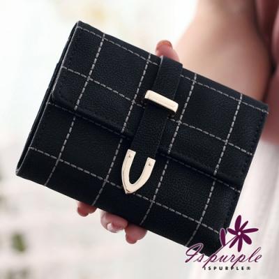 iSPurple 刺繡格紋 多格卡片抽帶短夾 黑