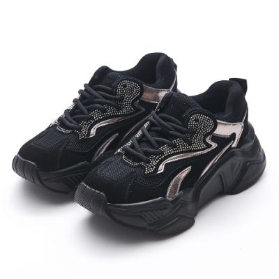 Camille's 韓國空運-正韓製-牛麂貼鑽拼接厚底休閒運動老爹鞋-黑色