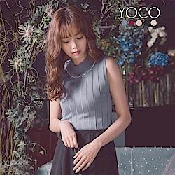 東京著衣-YOCO 華麗出場多色水鑽坑條針織背心-S.M.L(共五色)