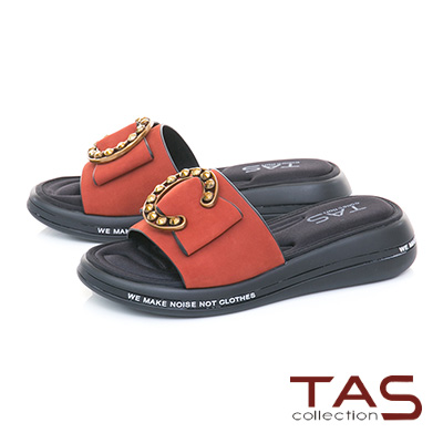 TAS C字金屬一字寬版個性涼拖鞋-個性橘