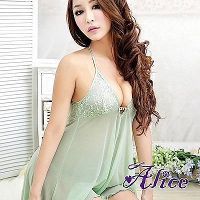 Alice情趣綠色內衣柔滑高檔露背睡衣(AK042)