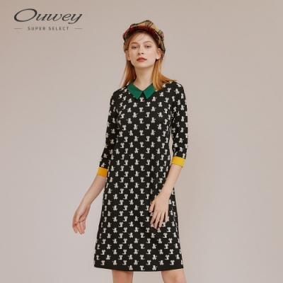 OUWEY歐薇 貓咪撞色針織洋裝(黑)