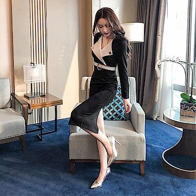 DABI 韓國風名媛拼色配腰帶修身翻領長袖洋裝