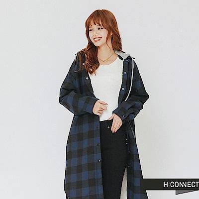 H:CONNECT 韓國品牌 女裝-內刷毛格紋連帽外套-藍