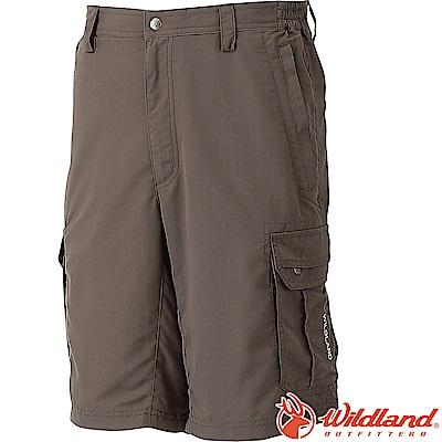 Wildland 荒野 W1389-63深卡其 男透氣抗UV休閒短褲(大尺碼)