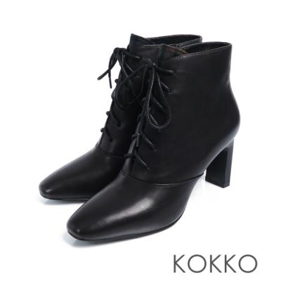 KOKKO海邊曼徹斯特綁帶方頭扁跟靴率性黑
