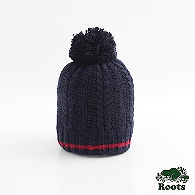 Roots-配件- 里斯肯毛球針織帽 - 藍色