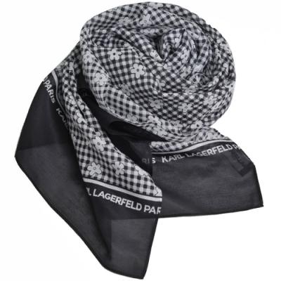 Karl Lagerfeld Paris 品牌繽紛印花絲混棉紡圍巾(黑白格)