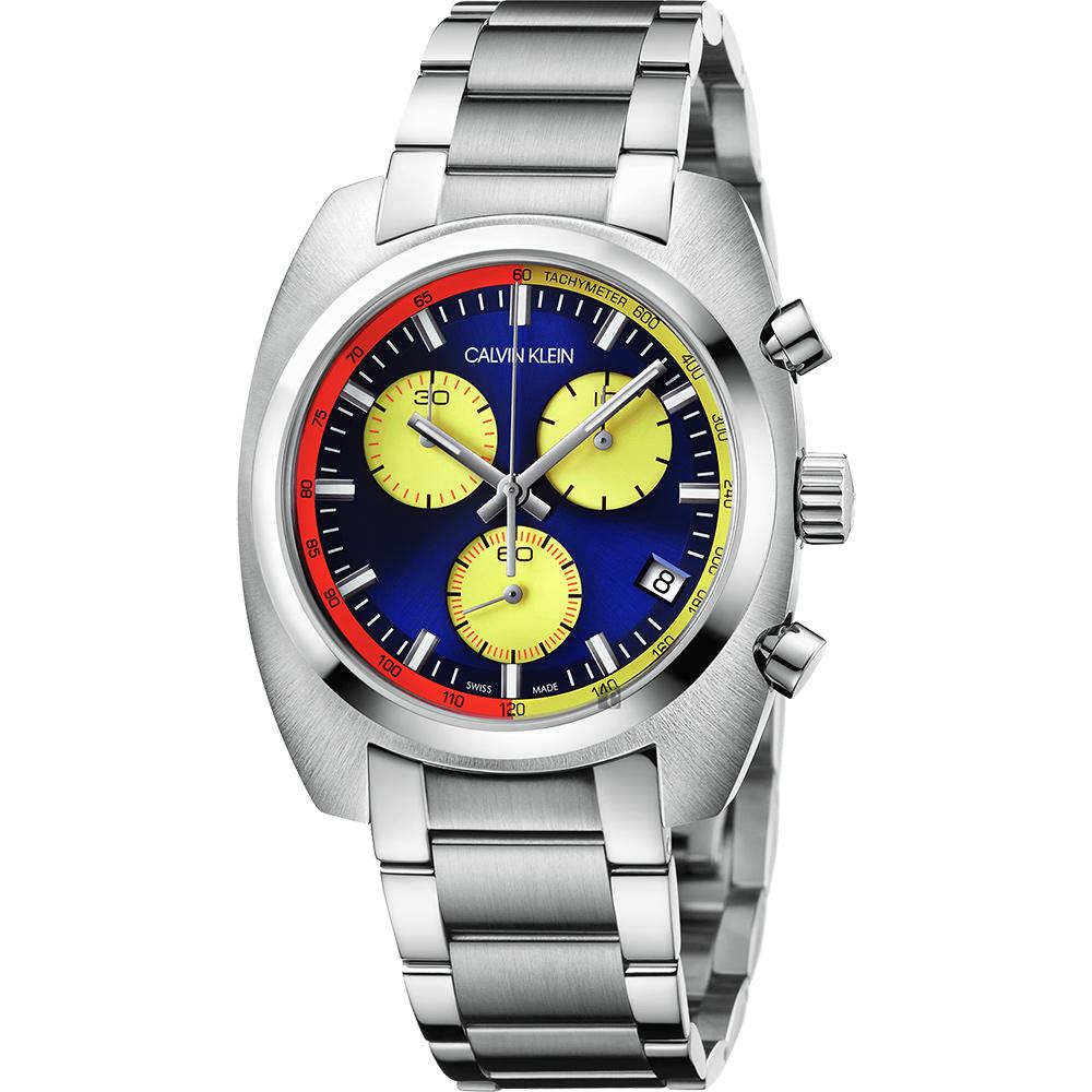 Calvin Klein CK Achieve 雅仕計時手錶-多色x銀/44mm