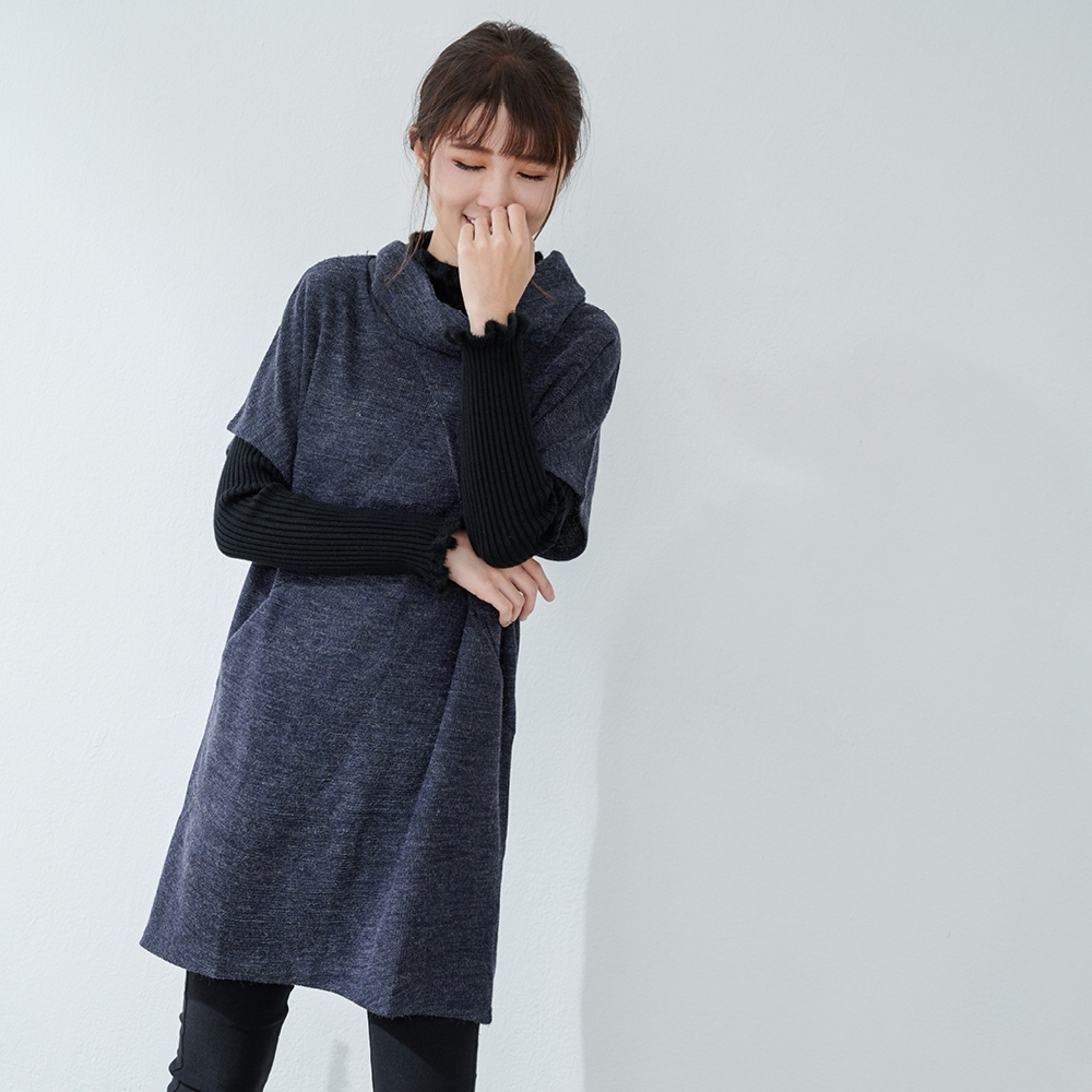 KatieQ 混織百搭高領中長版針織上衣- 深藍色