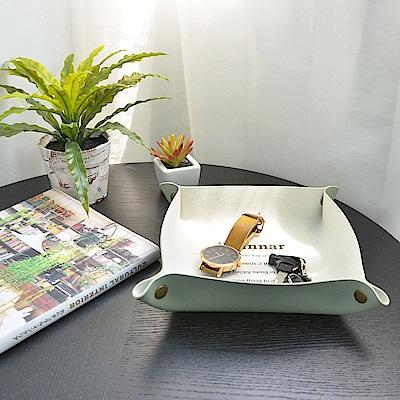 收納職人 北歐簡約皮革桌面收納盒/首飾托盤/玄關鑰匙盤(莫蘭迪綠)