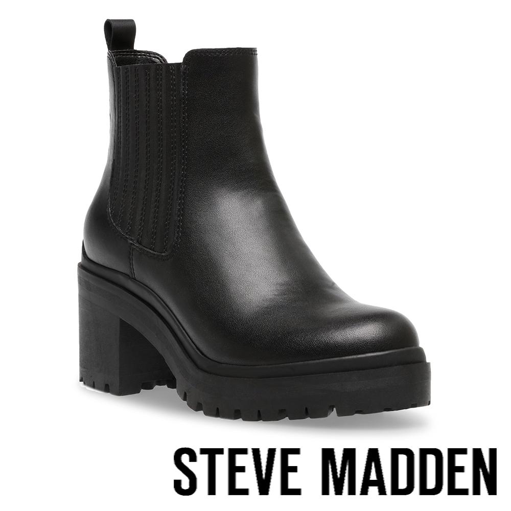 STEVE MADDEN-ENCOUNTER 側鬆緊中跟短靴-黑色