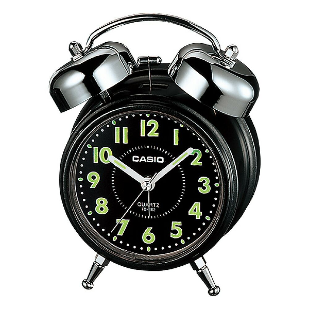CASIO 指針雙響螢光標示音鬧鐘-黑面 (TQ-362-1A)