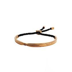 agnes b.玫瑰金女性手環棉繩(黑)