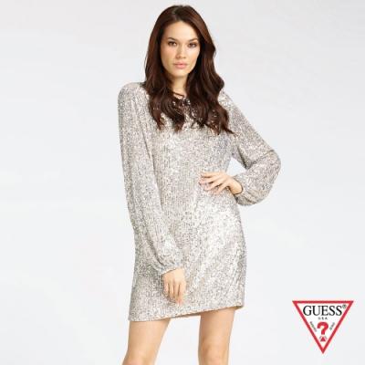 GUESS-女裝-都會輕奢閃耀長袖連身裙-銀